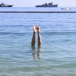 Bathing in the Mediterranean Sea on the Monaco's coast ~ Купаемся в Средиземном море Монако