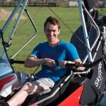 Andrey after his first flight after assembling the wing ~ Андрей после первого после сборки крыла полёта