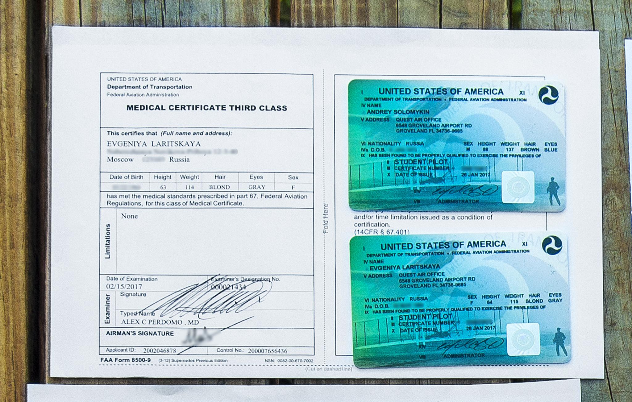 My Medical and our Student Pilot licenses ~ Мой «ВЛЭК» и наши студенченские лицензии